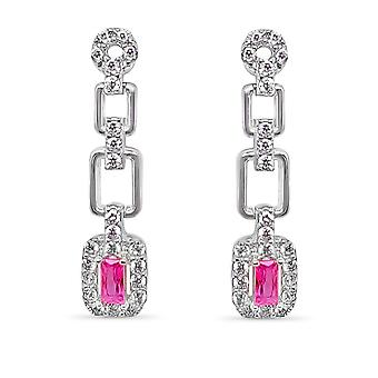 Ah! Jewellery Princess Cut Drop Rose Crystals from Swarovski Earrings Sterling Silver