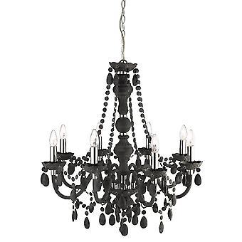 Marie Therese grå otte lys loftslampe med akryl krystaller - projektør 8888-8GY