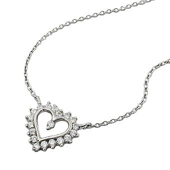 Silver chain anchor chain cubic zirconia heart pendant on rhodium plated 43 cm Silver 925