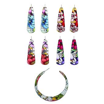 Acrylic and Tin Alloy Retro Floral Design Hoop Earrings