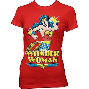 Women's Comic Style Wonder Woman Red T-Shirt