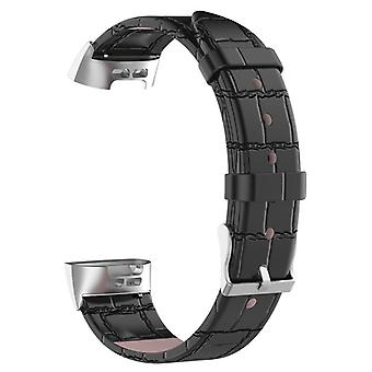 Durable leather bracelet compatible with Fitbit Charge 3-Black