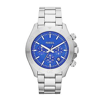 Fossil Retro Traveller Men's Silver & Blue Chronograph Watch CH2894
