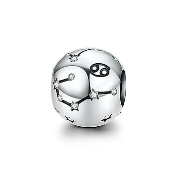 Sterling silver charm Zodiac sign Cancer with zirconia