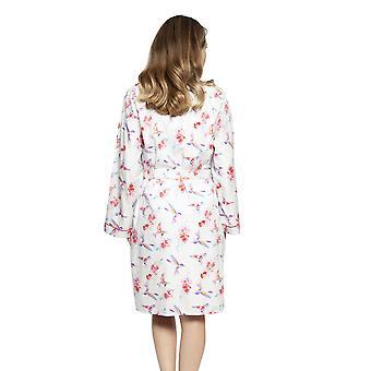 Cyberjammies 4205 Women's Evie Ivory Off White Hummingbird Print Cotton Short Robe