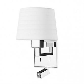 LED 2 lumière mur intérieur lumière chrome avec lampe de lecture