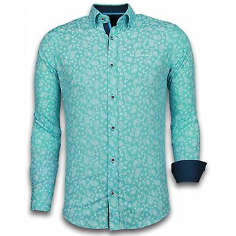 E Shirts - Slim Fit - Leaves Pattern - Turqoise