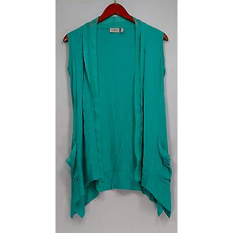 LOGO by Lori Goldstein Sweater XXS Sleeveless Open Front Vest Blue A251180