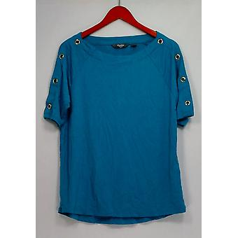 Martha Stewart Knit Elbow Sleeve Top with Grommet Detail Blue A307683