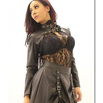 Phaze - steampunk buckle star bolero - brown faux leather