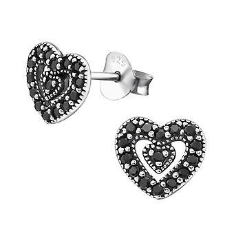 Καρδιά - 925 ασημένια κυβικά στηρίγματα αυτιών Zirconia - W30813x