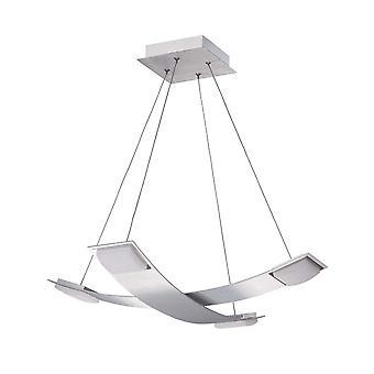 Mantra Thea Pendant 4 Light 28W LED 3000K, 2520lm, Satin Aluminium/Frosted Acrylic, 3yrs Warranty