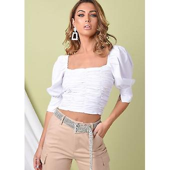 Square Neck Ruched Puff Sleeve Crop Bluse Weiß