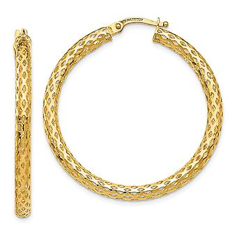 14k Hollow Gold 3mm Mesh Round Hoop Earrings Jewelry Gifts for Women - 2.3 Grams