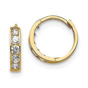 14k keltainen kulta kiillotettu post korvakorut Madi K CZ Kuutio Zirconia Simuloitu timantti pojille tai tytöille Sarana Vanne korvakorut