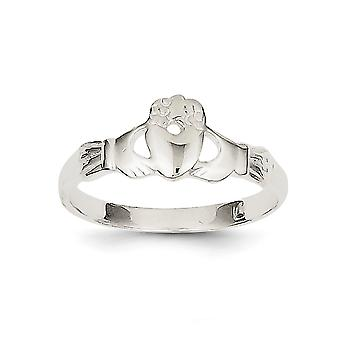 925 Sterling Silver Solid Polished Claddagh Ring - Ring Size: 6 to 8