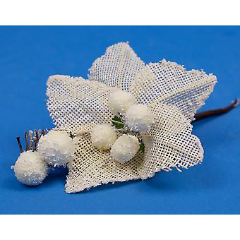 12 Pack 17cm Christmas Cream Poinsettia and Berries Picks | Floristry Supplies