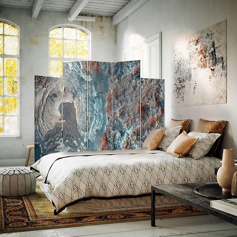 Diviseur de pièce décorative, 5 panneaux, toile, abstraction structurale 2