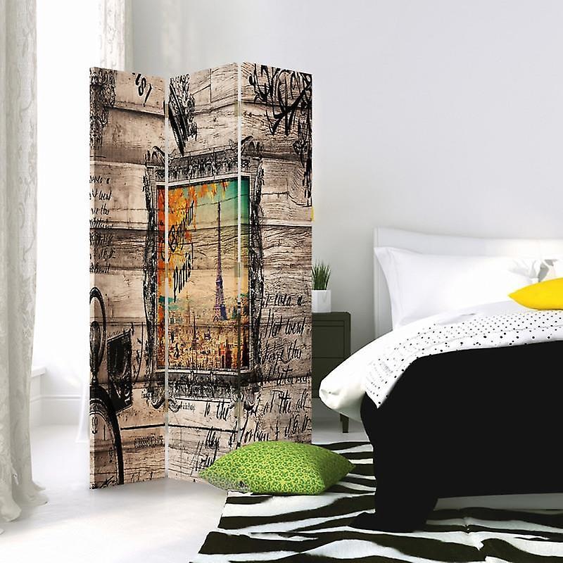 Diviseur de chambre, 3 panneaux, à un seul côté, toile, Bonjour Paris 2
