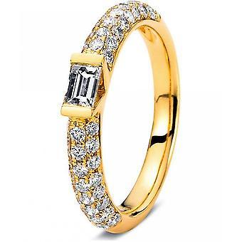 Diamantring ring-18K 750 gul guld-0,92 CT.