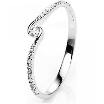 Diamond ring - 18K 750/- white gold - 0.14 ct. Size 53