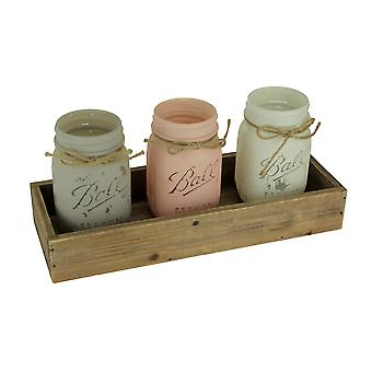 Pink Grey and White Painted Glass Mason Jar Planters in Wood Tray 4 Piece Set