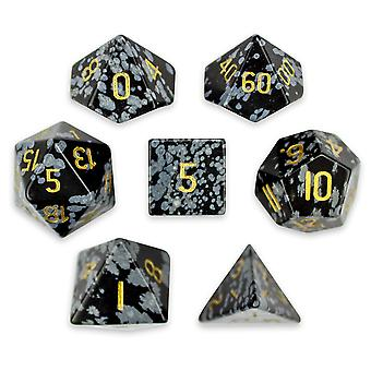 Set of 7 Handmade Stone Polyhedral Dice, Snowflake Obsidian