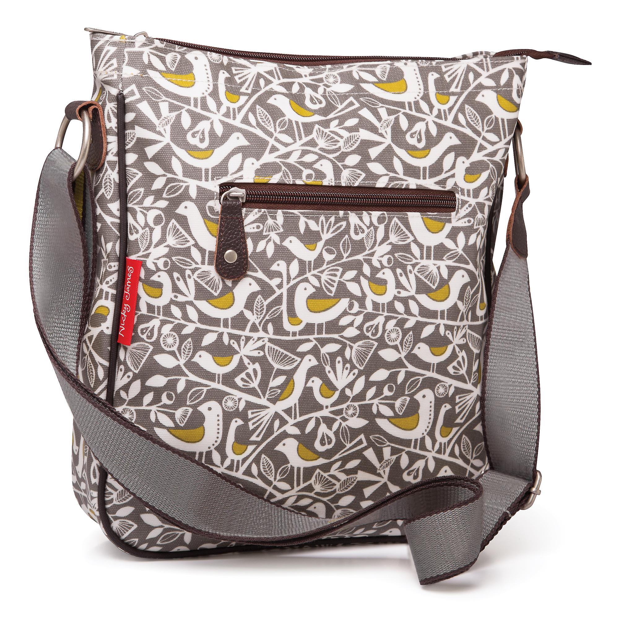 Nicky James Grey Doves Print Large Crossbody Bag