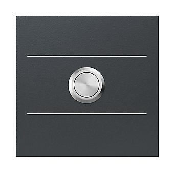 MOCAVI RING 500 G01 moderne Bell antraciet gemaakt van V4A roestvrijstaal, vierkant (8,5 cm), roestvrijstalen knop