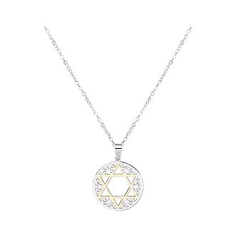 Gemshine Necklace Star of David, Star of David Stainless Steel Partial Gold Plated 3.5 mm