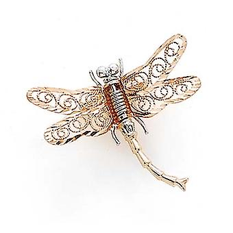 14k Two Tone Gold Dragonfly Pin Jewelry Gifts for Women - 1.9 Grams