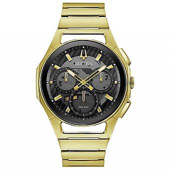 Bulova 97A144 Männer's Gold Ton Curv Chronograph Armbanduhr