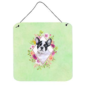 French Bulldog Green Flowers Wall or Door Hanging Prints