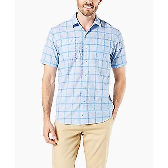 Dockers Men-apos;s Short Sleeve Performance Seersucker Shirt, Bleu, Bleu, Taille Petite