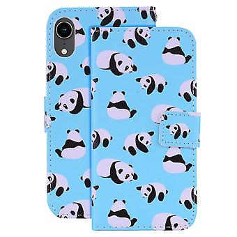 For iPhone XR Case Panda Pattern Wallet-style Leather Cover,2 Card Slots