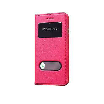 For iPhone 6S,6 Case,Fashion Cowhide Genuine Leather Cover Caller Display,Rose