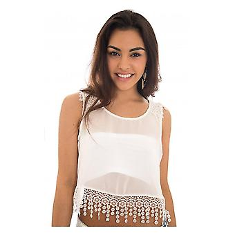 Chiffon Lace Trim Crop Top In
