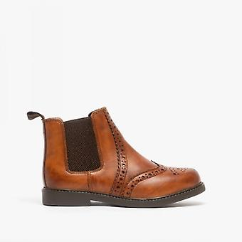 Roamers Johnny Boys Skóra Brogue Chelsea Buty Tan