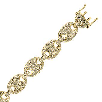 925 Sterling Silver Mens Yellow CZ Cubic Zirconia Simulated Diamond Pave 12mm 26 Inch Puff Mariner Link Chain Jewelry Gi