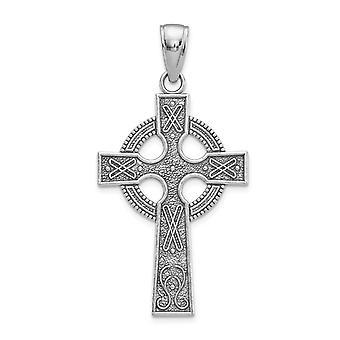 14k White Gold Lrg Celtic Cross With Eternity Circle and Design Texture (1 Bijoux Cadeaux pour les femmes