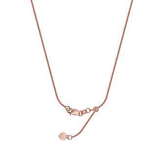925 Sterling Silver Rose Pläterade 1.25mm justerbar Square Vete Chain Halsband med Pärla 22 Tums smycken gåvor för kvinnor
