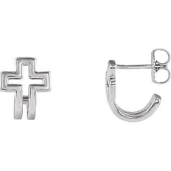 925 Sterling Silber poliert offene religiöse Glauben Kreuz Creolen Schmuck Geschenke für Frauen