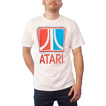 Atari T Shirt Classic Retro Logo new Official Gamer Mens White