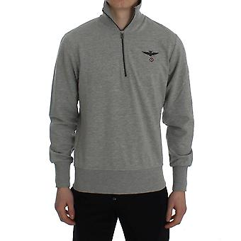 Aeronautica Militare Gray Cotton Stretch Half Zipper Sweater