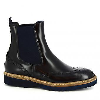 Leonardo Shoes Men's handgemaakte brogues chelsea laarzen in blauw glanzend kalf leer
