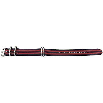 N.a.t.o zulu g10 style watch strap 5 ring 2 stripe blue/red 22mm
