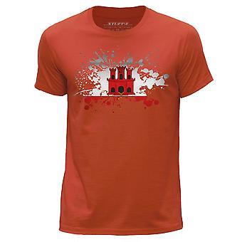 STUFF4 Men's Round Neck T-Shirt/Gibraltar Flag Splat/Orange