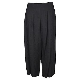 Crea Concept Black Wide Leg Lightweight Linen Blend Culottes