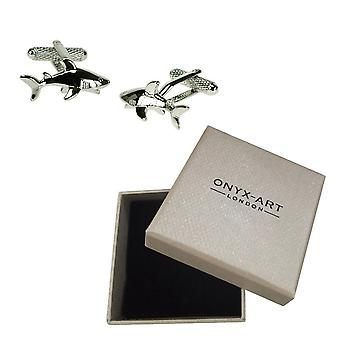 Shark Cufflinks by Onyx Art - Gift Boxed - Extreme Fishing - Lawyer Cuff Links