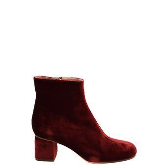 Red Valentino Ezbc026091 Women's Burgundy Velvet Ankle Boots